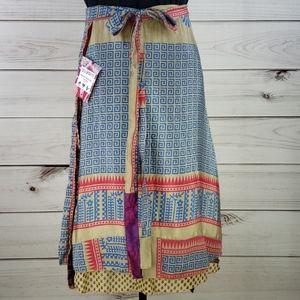 Darn Good Yarn Sari Silk Wrap Skirt Ankle XL/Plus